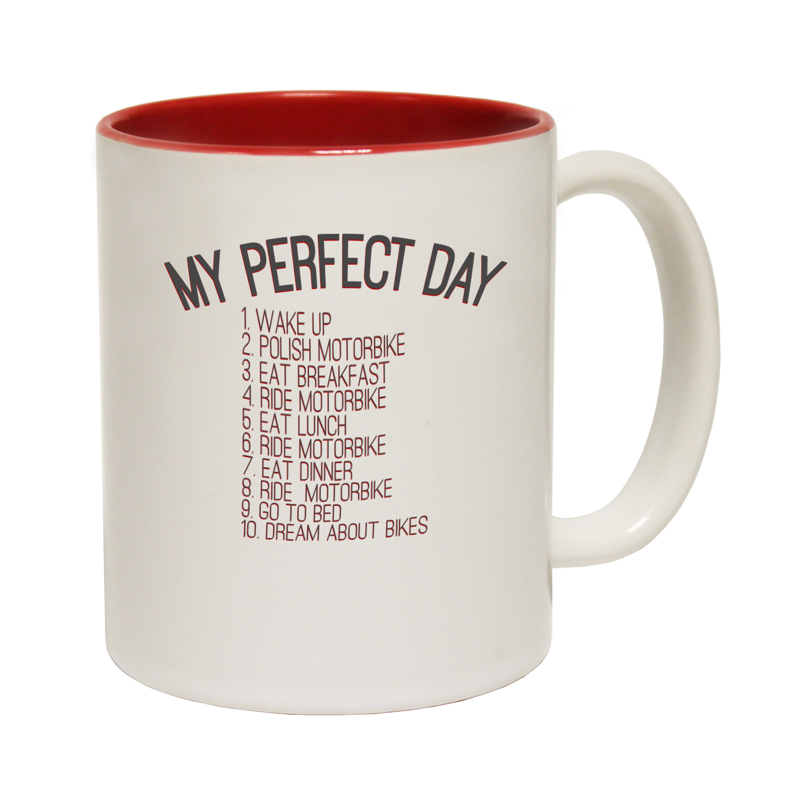 Funny mugs my perfect day motorbike joke gift