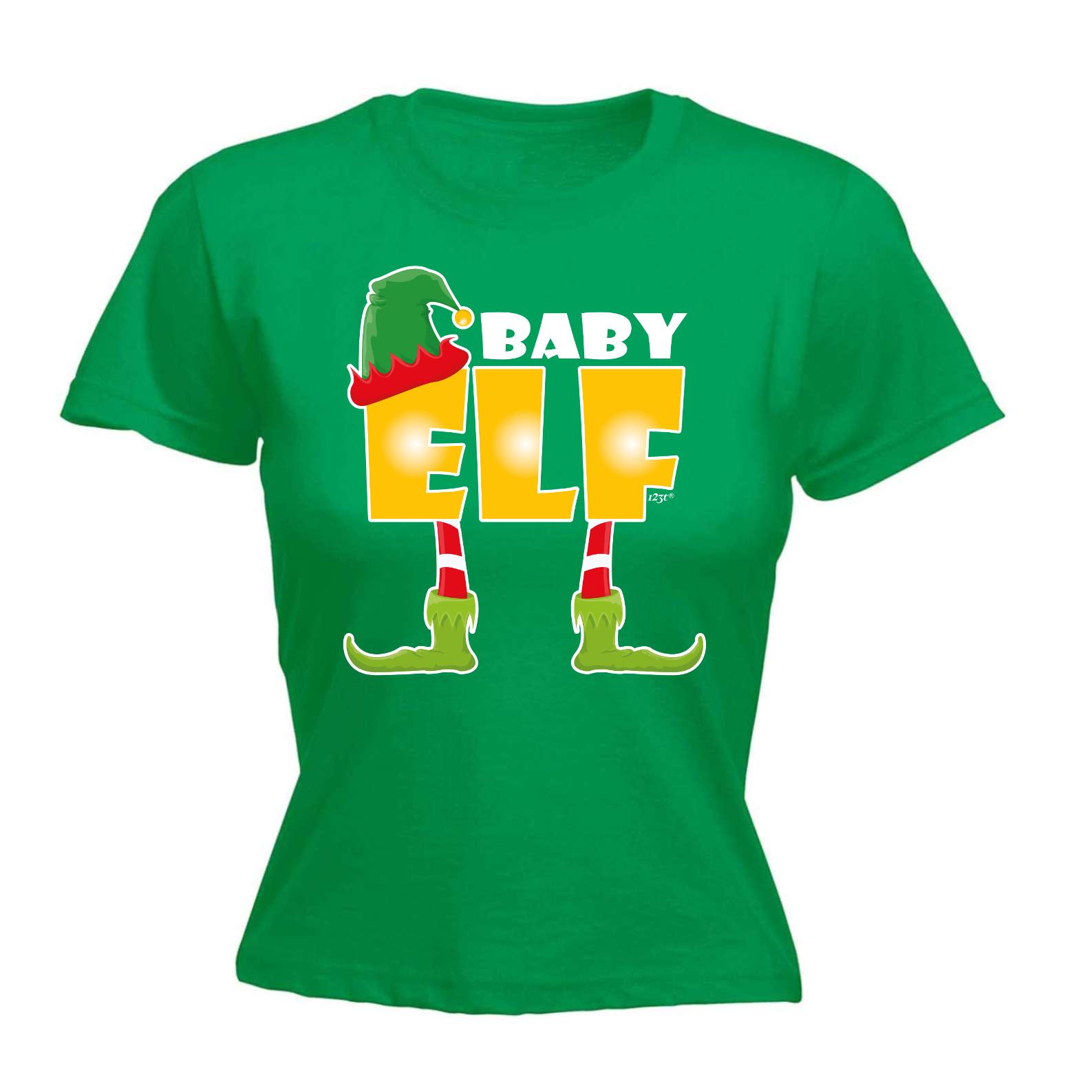 Womens Funny T Shirt Baby Elf Birthday Joke Humour Tee
