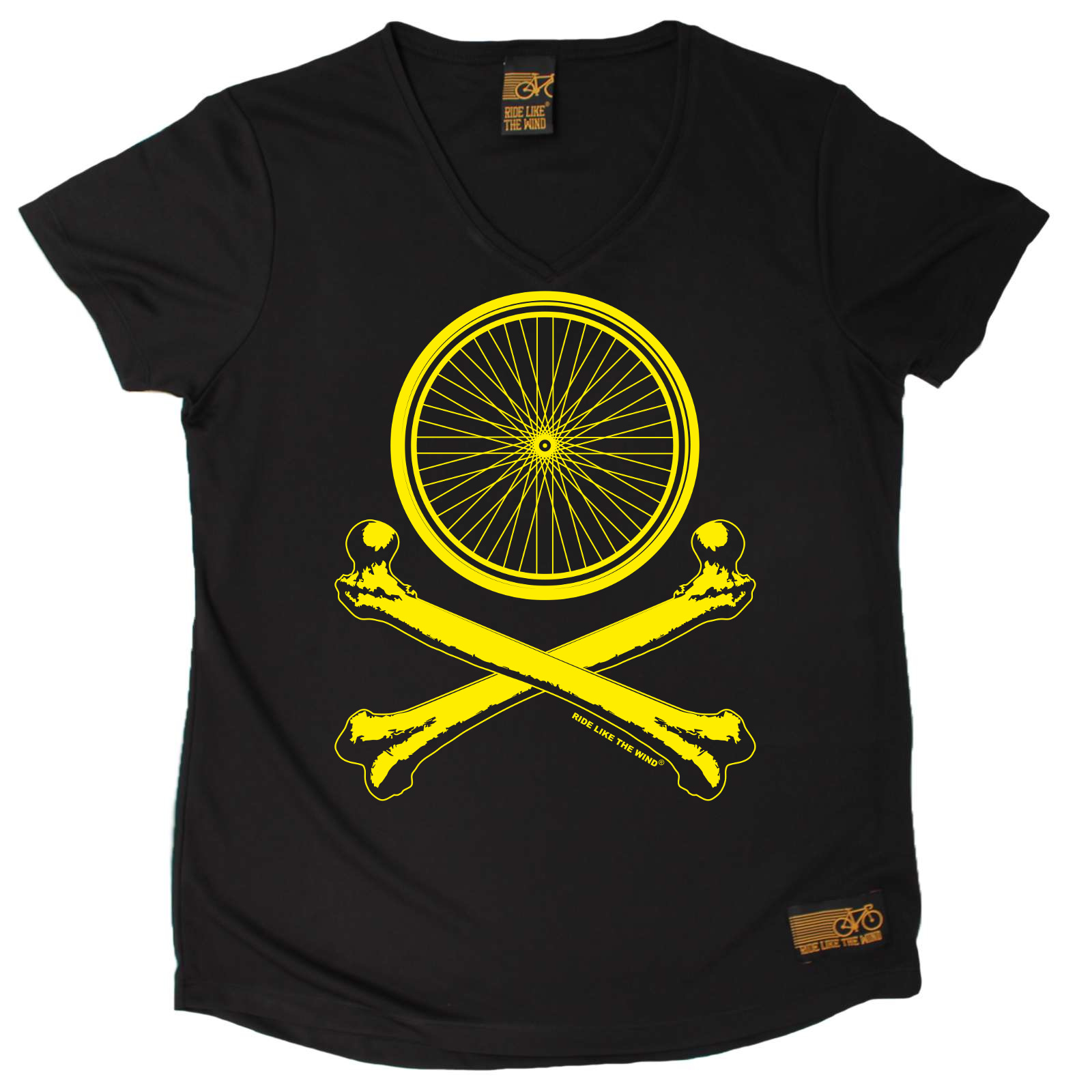 Ladies-Cycling-Wheel-Crossbones-Breathable-atee-T-SHIRT-DRY-FIT-V-NECK-T-SHIRT