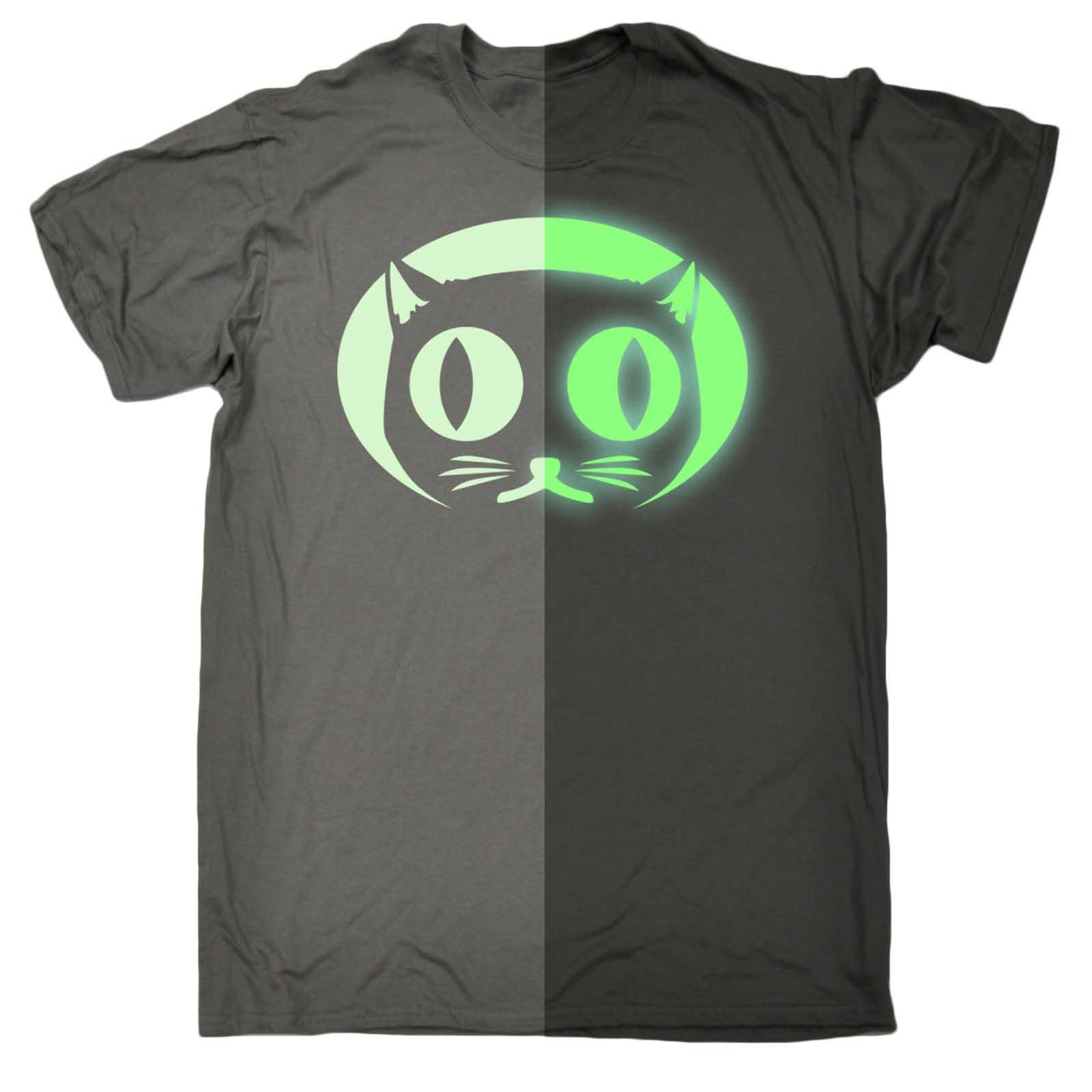 Funny t shirt Glow In The Dark Cat Face Animal tshirt tshirts T