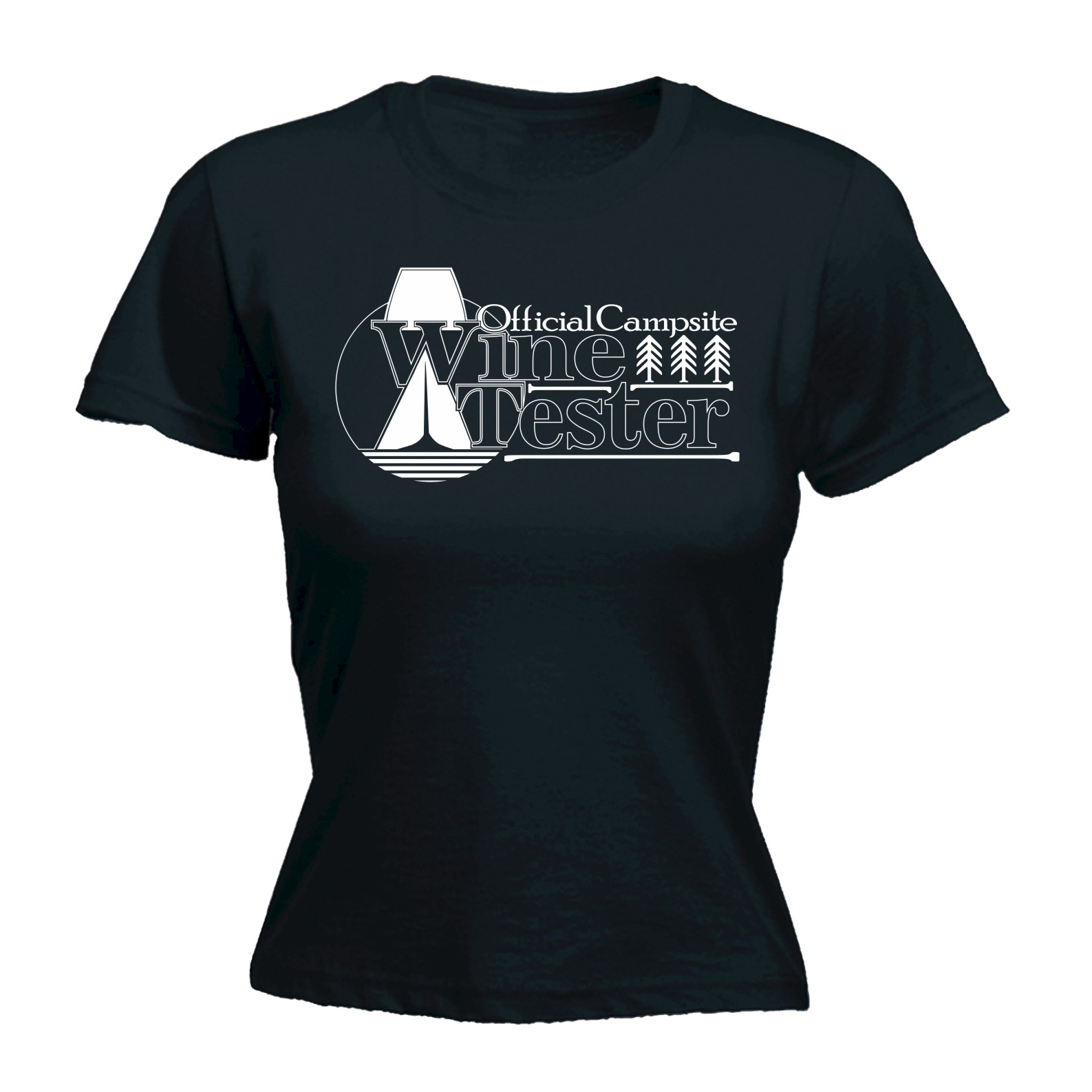 Womens-Official-Campsite-Wine-Tester-Funny-Joke-Camping-FITTED-T-SHIRT-Birthday