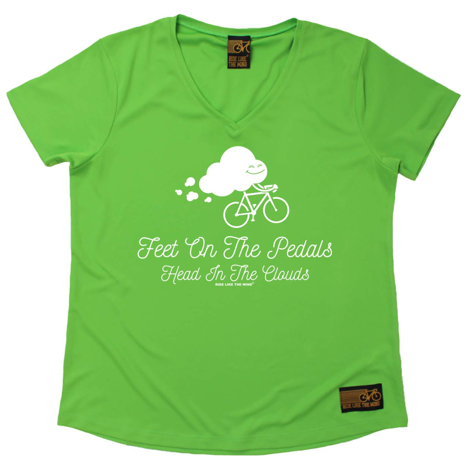 Ladies-Cycling-Feet-On-The-Pedals-Breathable-cycle-DRY-FIT-V-NECK-T-SHIRT