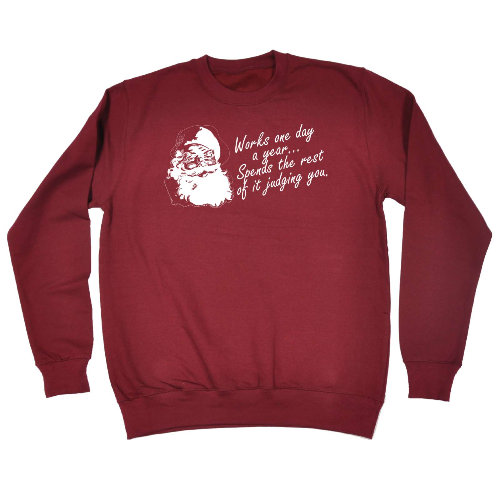 new Funny Sweatshirt Works One Day A Year Santa Father Christmas X-mas JUMPER for sale